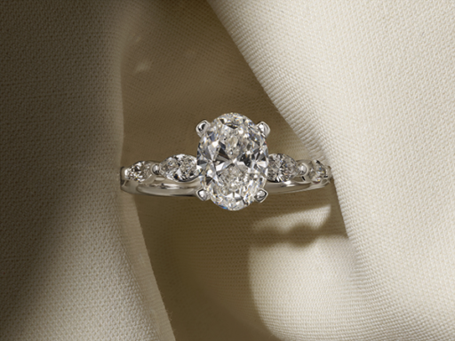 Close Up Oval Diamond Engagement Ring Vintage Style