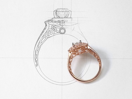 Diamond Rose Gold Engagement Ring With Unfinished Sketch of The Ring Next To It