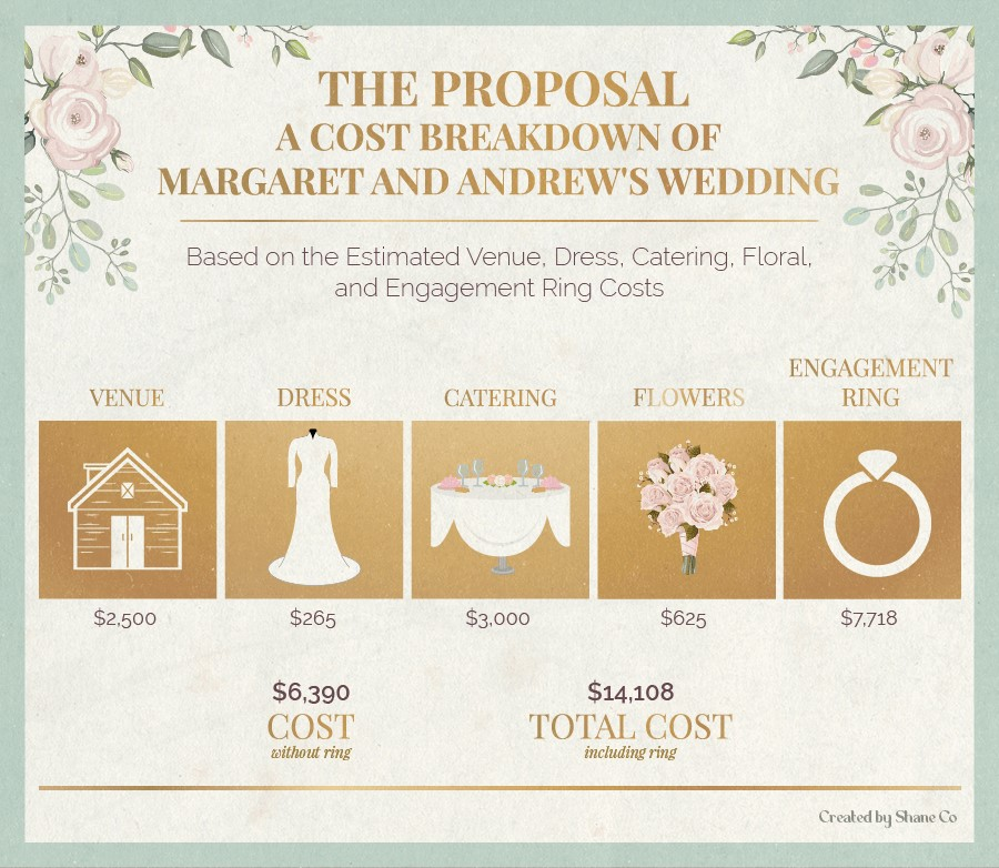 A cost breakdown of Margaret and Andrew's wedding in The Proposal.