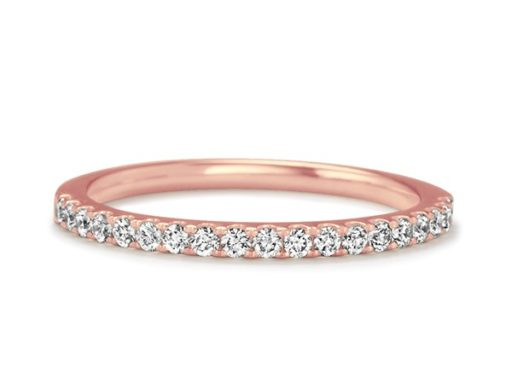 Classic Pave-Set Diamond Wedding Band in 14k Rose Gold